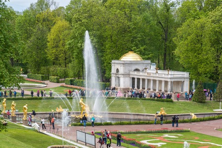 palacio ruso: Peterhof, Russia - June 03.2017. Park with a fountain in front of the palace