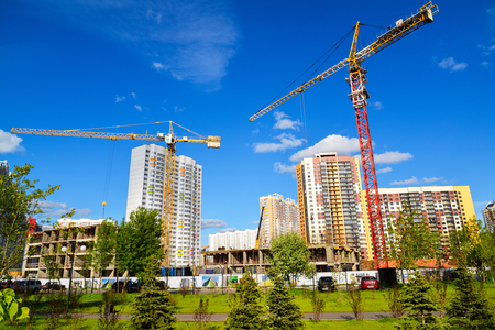 Construction of a modern residential buildings in Moscow, Russia Stock Photo