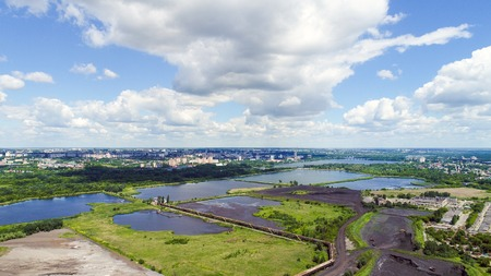 Top view of the settlers of the NLMK plant in Lipetsk, Russia Stock Photo