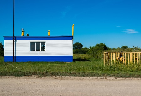 Gas pipeline and the gas distribution station in the village. Russia