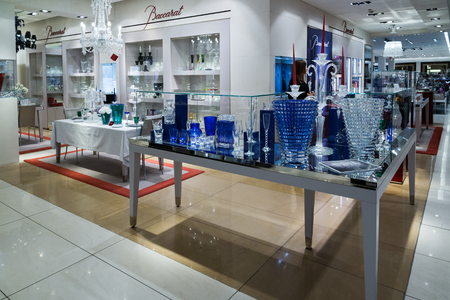 expensive: Moscow, Russia - July 25.2017. Sale of goods Baccarat in a Tsum store