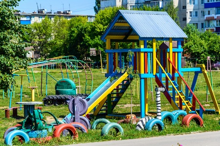 Homemade childrens playground from an improvised materials, Russia