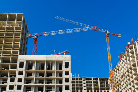 Construction of multi-storey houses in Moscow, Russia Stock Photo