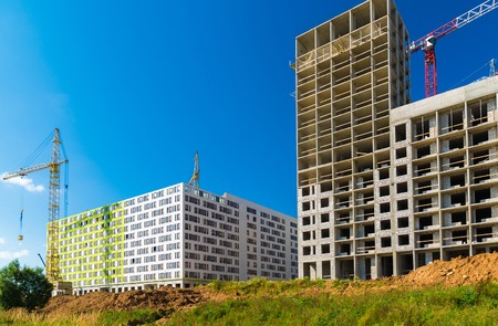 Construction of multi-storey houses in Zelenograd district of Moscow, Russia