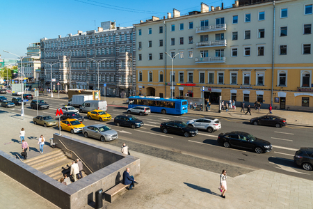 Moscow, Russia - August 31.2017. View on Strastnoy Boulevard and Metro Chekhovskaya