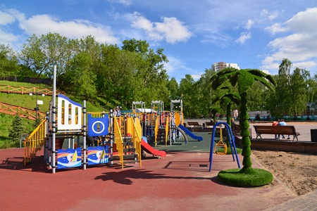 Khimki, Russia - May 30.2017. childrens playground in park on the left bank