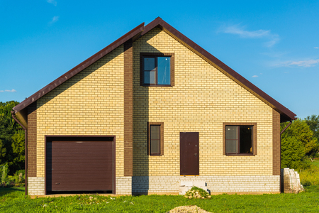 windows: A new modern private house with garage Stock Photo