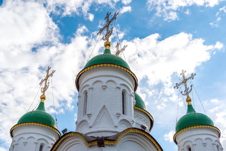 Domes of Church of the Life-giving Trinity in Leafs in Moscow, Russia