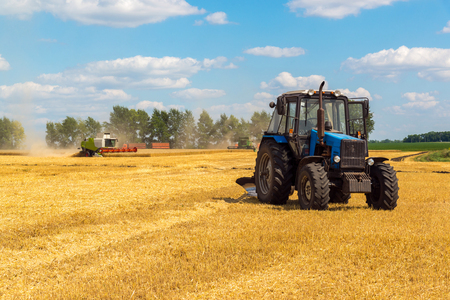 Agricultural machinery removes grain crops on the field in Russia Stock Photo