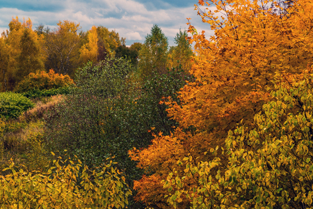 An autumn landscape in Russia at the end of September Stock Photo