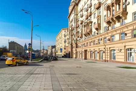 Moscow, Russia - November 2. 2017 Malaya Sukharevskaya - part of the Garden Ring