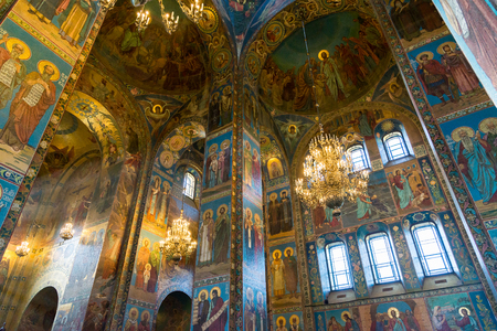 St. Petersburg, Russia - June 6 2017. Interior of Church of Savior on Blood or Cathedral of Resurrection of Christ