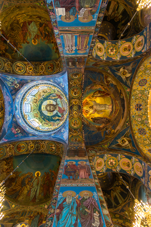 St. Petersburg, Russia - June 6 2017. ceiling decorated with mosaic in Cathedral of Resurrection of Christ