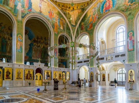 Moscow, Russia - July 24. 2017. Church in honor of Resurrection of Christ, New Martyrs and Confessors of Russian Church on Blood, on Lubyanka