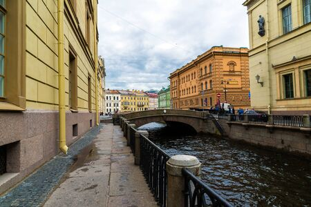 St. Petersburg, Russia - June 3 2017. View of embankment of the Moika River and second Winter Bridge