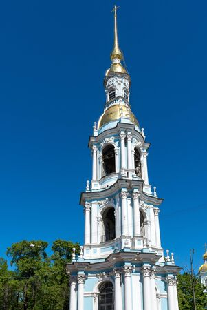 Belfry of St. Nicholas Naval Cathedral in a St. Petersburg, Russia Stock Photo