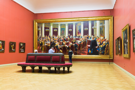 St. Petersburg, Russia - June 2 2017. Hall with paintings Repin in the Russian Museum. Solemn meeting of the State Council on May 7, 1901 Editorial
