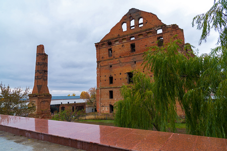 Gergardt mill - building of steam mill of early XX century, destroyed in Battle of Stalingrad during Second World War. Volgograd, Russia