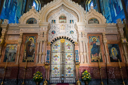 St. Petersburg, Russia - June 6 2017. iconostasis in Church of a Savior on Blood or Cathedral of Resurrection of Christ