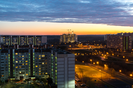 Night cityscape with construction site of a Zelenograd in Moscow. Russia
