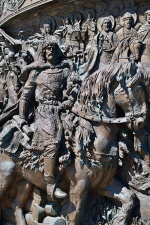 Moscow, Russia - May 12. 2018. bas-relief on Monument to Prince Vladimir in Borovitskaya Square 報道画像