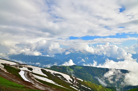 Panorama of the Caucasian mountains from Rosa Khutor resort in Russia