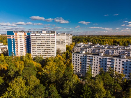 top view on an ecologically clean area of Moscow with autumn forest. Russia Stockfoto