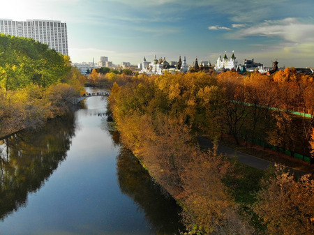 the silver-grape pond and Izmailovsky Kremlin in Moscow Russia