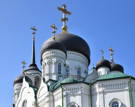 Domes of Annunciation Cathedral on Revolution Avenue in Voronezh, Russia