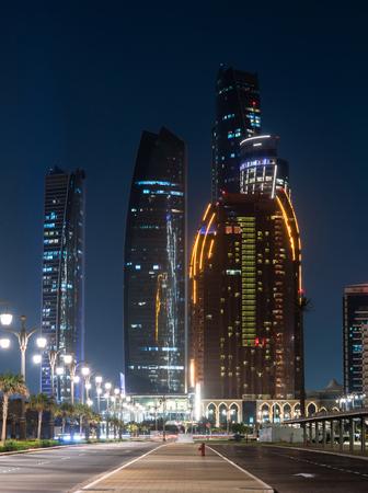 Night cityscape in an Abu Dhabi, United Arab Emirates Stock Photo