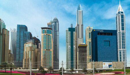 Dubai, UAE - April 2. 2019. Dubai Marina is famous fashionable area
