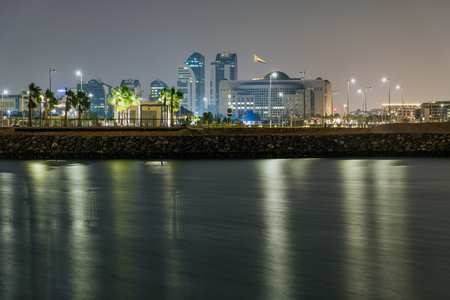 Night Abu Dhabi from the sea, UAE