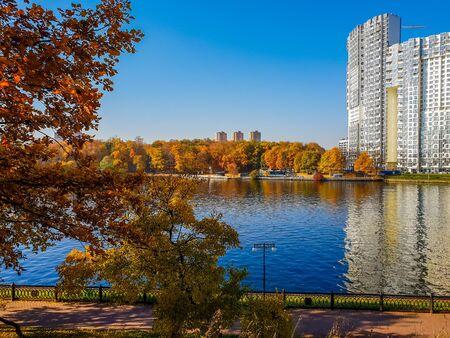 Autumn landscape with river in Khimki, Russia Stok Fotoğraf