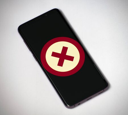 Prohibition sign in red circle on the smartphone screen