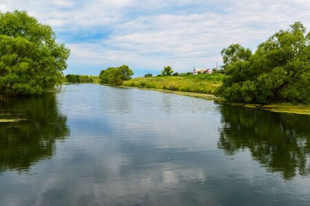 Summer landscape with a river in the countryside Stok Fotoğraf