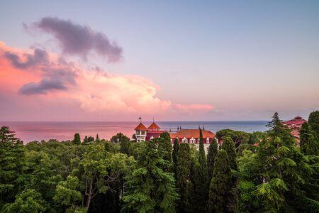 Landscape with a beautiful sunset sky and the Black Sea, Crimea