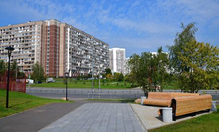 City landscape with boulevard in Zelenograd in Moscow, Russia