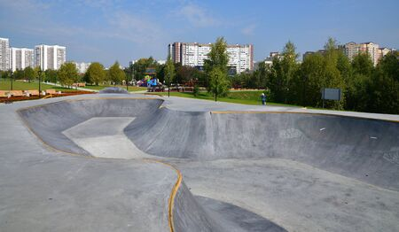 Skate park on the street in Zelenograd in Moscow, Russia