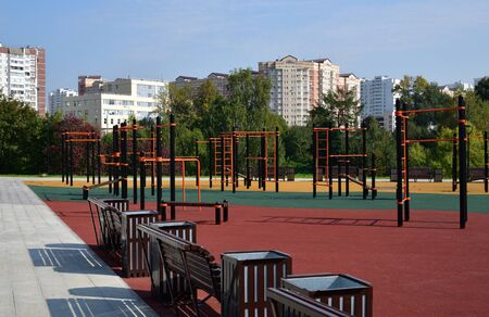 Sports complex with exercise machines on the street in Zelenograd in Moscow, Russia