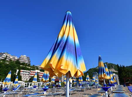 City beach in resort area in Becici, Budva
