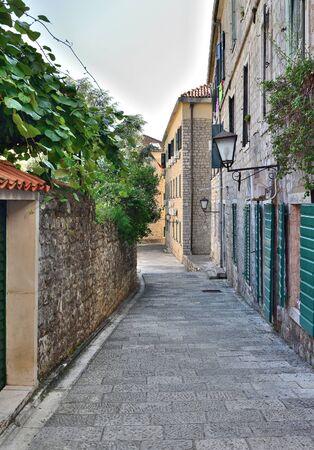 Narrow tourist street in old town in Herceg Novi, Montenegro
