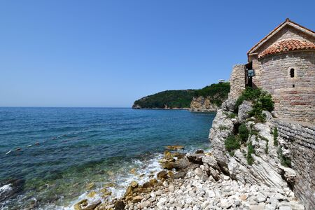 Mediterranean Sea and fragment of architecture in Old Town in Budva, Montenegro