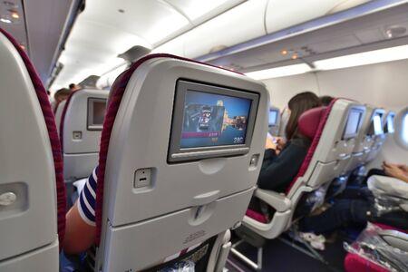 Doha, Qatar - 17 de noviembre de 2019. Salón Airbus A320 de Qatar Airways