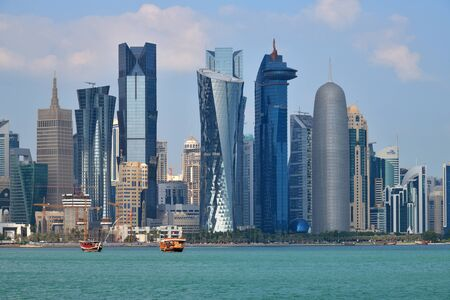 Doha, Qatar - Nov 21. 2019. A View of downtown skyscrapers from Persian Gulf