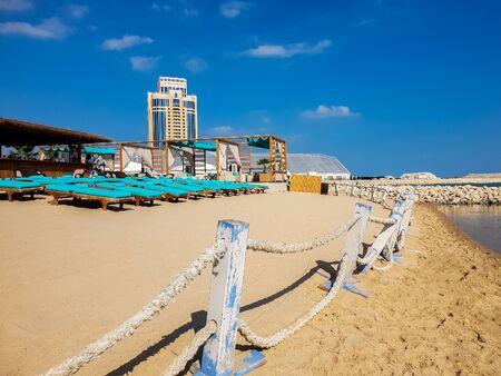 Doha, Qatar - Nov 11. 2019 Private Beach Grand Hyatt Hotels