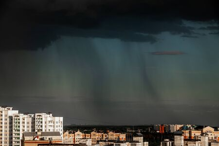 Heavy thunderstorm over the Moscow, Russia