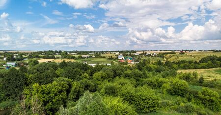 Picturesque summer countryside landscape in Russia from height 免版税图像