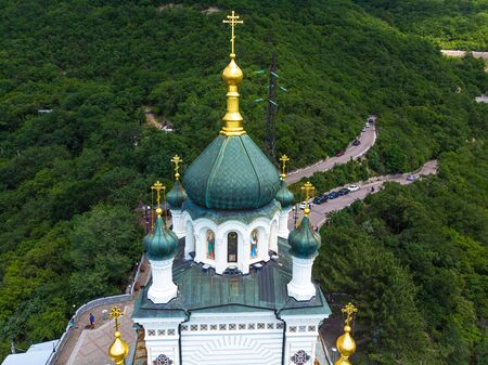 Top view Church of Resurrection in Foros. Crimea
