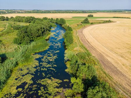 Beautiful countryside landscape with a river, aerial view. Russia