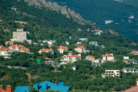 View of the Foros village from above in Crimea. Resort Foto de archivo